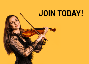 "woman playing the violin with words ""Join Today!"""